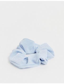 Asos Design Plisse Scrunchie In Light Blue by Asos Design