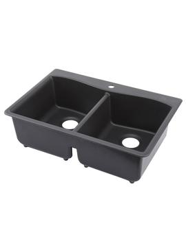 Kennon Drop In/Undermount Neoroc Granite Composite 33 In. 1 Hole Double Basin Kitchen Sink In Matte Black by Kohler