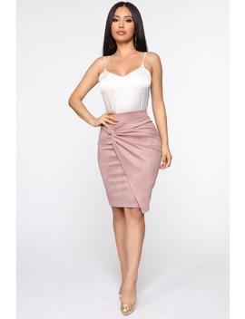 Knot Me Midi Skirt   Mauve by Fashion Nova