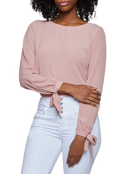 Crepe Knit Tie Sleeve Blouse by Rainbow