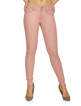 3 Button Twill Skinny Pants by Rainbow