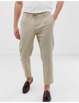 Only &Amp; Sons Slim Fit Linen Mix Trousers In Beige by Only & Sons