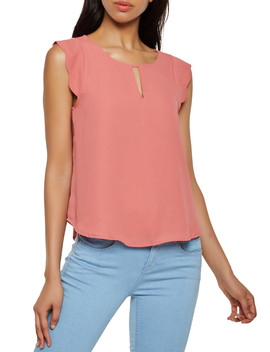 Scalloped Cap Sleeve Blouse by Rainbow