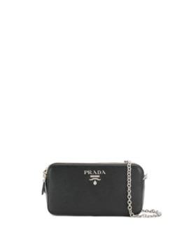 сумка через плечо с металлическим логотипом by Prada