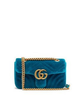 Gg Marmont Mini Quilted Velvet Cross Body Bag by Gucci