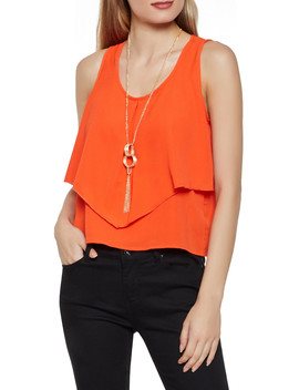 Ruffled Crepe Knit Tank Top With Necklace by Rainbow