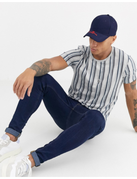 Burton Menswear T Shirt With Vertical Stripe In Grey And Blue by Burton Menswear London