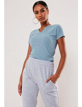Blue Ribbed Notch Neck T Shirt by Missguided