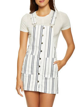 Almost Famous Striped Overall Dress by Rainbow