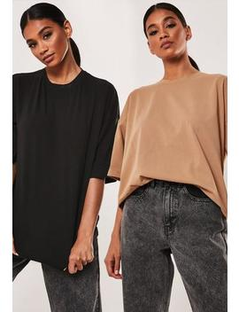 Camel And Black Oversized Drop Shoulder T Shirts 2 Pack by Missguided