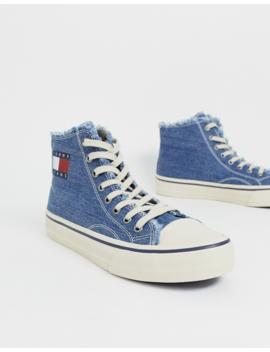 Tommy Jeans – Hohe Sneaker Aus Leinen Und Denim Mit Flaggen Logo Und Offenen Kanten, In Blau by Asos