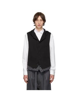 Black Hooded Vest by Yohji Yamamoto