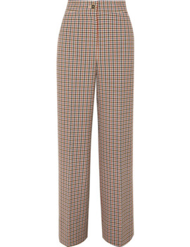 Checked Woven Wide Leg Pants by Tory Burch