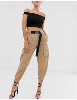 Asos Design   Pantalon Taille Haute Style Militaire Avec Ceinture by Asos Design