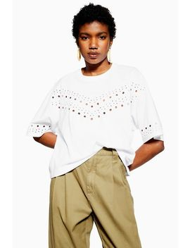 White Broderie Boxy T Shirt by Topshop