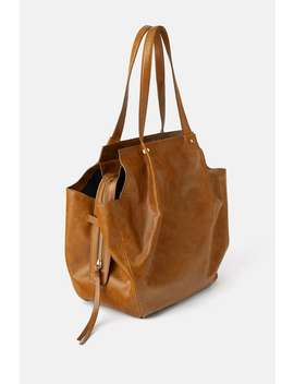 Cracked Leather Tote Bag Shoestrf by Zara