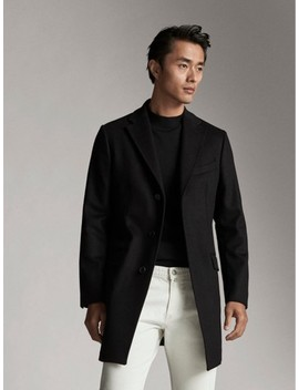Black Cashmere Wool Coat by Massimo Dutti