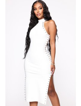 Can't Get Enough Bandage Midi Dress   White by Fashion Nova
