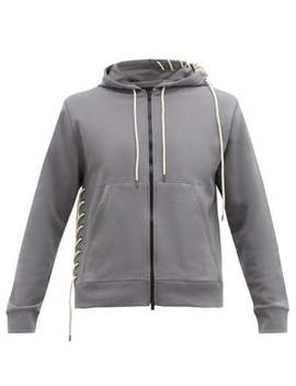 Laced Zip Through Cotton Hooded Sweatshirt by Craig Green
