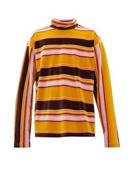 High Neck Striped Cotton Velour Top by Marni