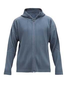 Zip Through Pleated Hooded Sweatshirt by Homme Plissé Issey Miyake
