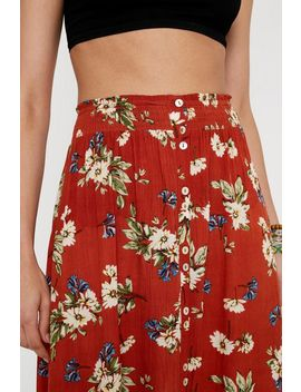 Uo Floral Button Front Midi Skirt by Urban Outfitters