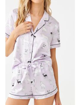 Dog Print Pajama Set by Forever 21