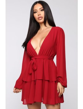 You're Such A Flirt Mini Dress   Wine by Fashion Nova