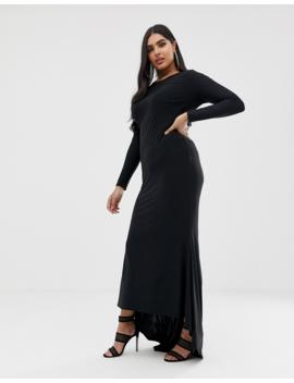 Club L London Plus Fishtail Maxi Dress In Black by Club L