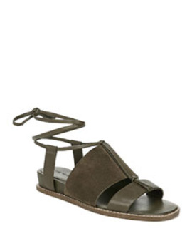 Forster Flat Leather Ankle Tie Sandals by Vince