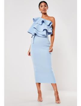 Blue Ruffle One Shoulder Scuba Midi Dress by Missguided