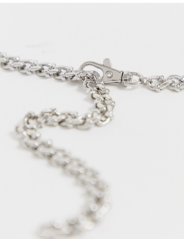 Asos Design Textured Metal Lariat Chain Necklace In Silver Tone by Asos Design