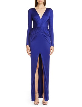 Gathered Slit Front Long Sleeve Gown by Haney