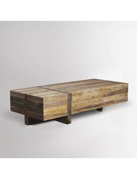 Emmerson Reclaimed Wood Block Coffee Table   Natural by West Elm