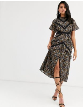 Hope &Amp; Ivy Midi Dress With Lace Panels In Ditsy Floral by Hope And Ivy