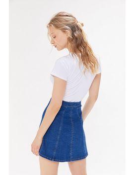 Wrangler Denim Button Front Mini Skirt by Wrangler