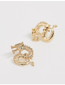 Missguided Dragon Stud Earrings In Gold by Missguided
