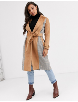 River Island Petite Trench Coat With Contrast Panels In Check by River Island