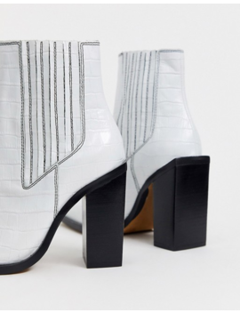 Asos Design East Coast Leather Western Chelsea Boots In White Croc by Asos Design