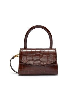 Croc Embossed Mini Leather Top Handle Tote by By Far