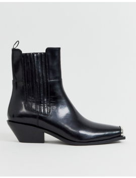 Asos Design Ambition Premium Metal Toe Western Boots In Black Leather by Asos Design