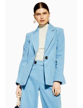 Blue Corduroy Blazer by Topshop