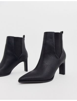 Asos Design Romeo Pointed Heeled Boots In Black Snake by Asos Design
