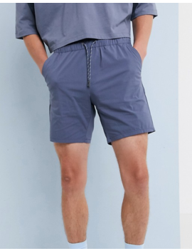 Asos Design Slim Shorts In Blue Nylon by Asos Design