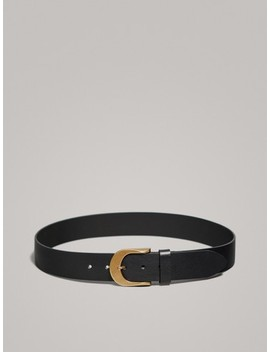 Black Leather Belt by Massimo Dutti