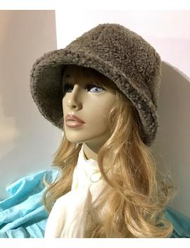 Womens Sherpa Fur Hat, Womens Winter Hat, Mens Winter Hat, Bucket Hat  Taupe Sherpa Faux Fur. Ready To Ship by Etsy
