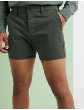 Asos Design Slim Shorter Chino Shorts In Dark Khaki by Asos Design