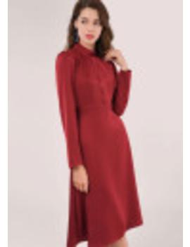Maroon Long Sleeve High Neck Dress by Closet