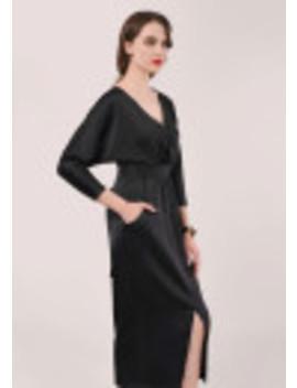 Black Gathered Waist Tulip Dress by Closet