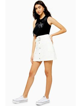 Tall White Button Down Belted Denim Skirt by Topshop